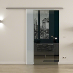 SoftClose-Glasschiebetür Klarglas LEVIDOR ProfiSlide Schienensystem