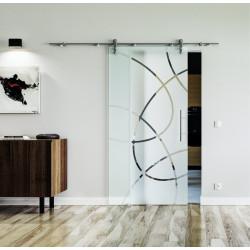 Glasschiebetür Edelstahl-Beschlag Levidor Design Essen