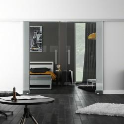 SoftClose-Doppel-Glasschiebetür Klarglas LEVIDOR ProfiSlide Schienensystem