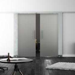 SoftClose-Doppel-Glasschiebetür Blickdicht LEVIDOR ProfiSlide Schienensystem