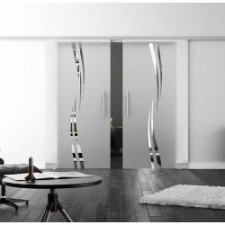 SoftClose-Doppel-Glasschiebetür Design Amsterdam LEVIDOR ProfiSlide Schienensystem