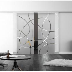 SoftClose-Doppel-Glasschiebetür Design Essen LEVIDOR ProfiSlide Schienensystem