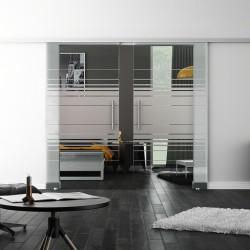SoftClose-Doppel-Glasschiebetür Design Hamburg LEVIDOR ProfiSlide Schienensystem