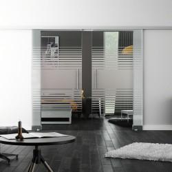 SoftClose-Doppel-Glasschiebetür Design Landshut LEVIDOR ProfiSlide Schienensystem