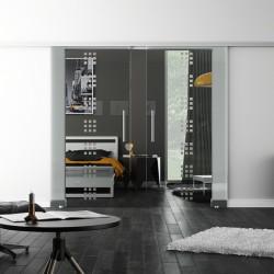 SoftClose-Doppel-Glasschiebetür Design Regensburg LEVIDOR ProfiSlide Schienensystem