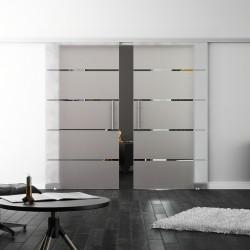 SoftClose-Doppel-Glasschiebetür Design Stuttgart LEVIDOR ProfiSlide Schienensystem
