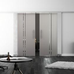 SoftClose-Doppel-Glasschiebetür Design Trier LEVIDOR ProfiSlide Schienensystem