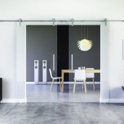 Glasschiebetür Klarglas Edelstahl-Beschlag Levidor Klarglas