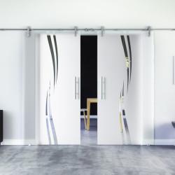 Glasschiebetür Wellen-Design (A) Edelstahl-Beschlag Levidor Klarglas 2 Scheiben