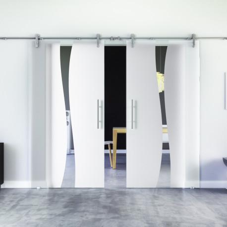 Glasschiebetür Design Amsterdam (A) Edelstahl-Beschlag Levidor Klarglas 2 Scheiben