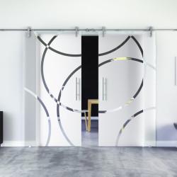 Glasschiebetür Design Coburg (C) Edelstahl-Beschlag Levidor 2 Scheiben