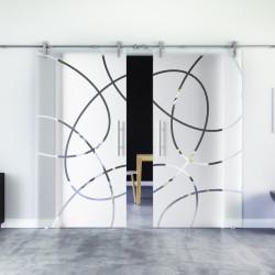 Glasschiebetür Design Essen (E) Edelstahl-Beschlag Levidor 2 Scheiben