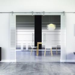 Glasschiebetür Design Hamburg (H) Edelstahl-Beschlag Levidor 2 Scheiben