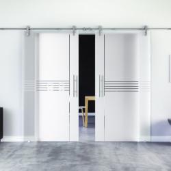 Glasschiebetür Design Ingolstadt (I) Edelstahl-Beschlag Levidor 2 Scheiben