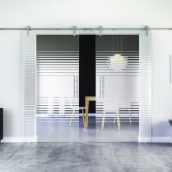 Glasschiebetür Design Landshut (L) Edelstahl-Beschlag Levidor 2 Scheiben