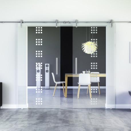 Glasschiebetür Design Regensburg (R) Edelstahl-Beschlag Levidor 2 Scheiben
