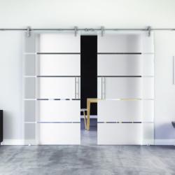 Glasschiebetür Design Stuttgart (S) Edelstahl-Beschlag Levidor 2 Scheiben