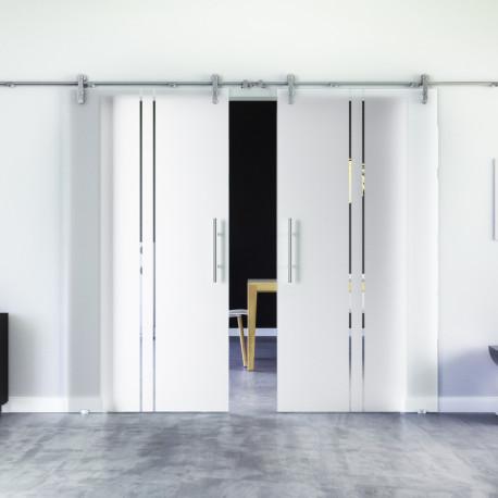 Glasschiebetür Design Trier (T) Edelstahl-Beschlag Levidor 2 Scheiben