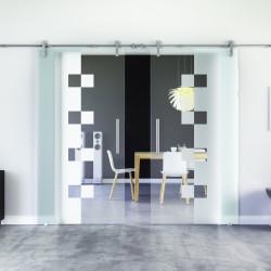 Glasschiebetür Design Würzburg (W) Edelstahl-Beschlag Levidor 2 Scheiben